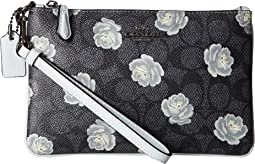 Small Wristlet in Coated Canvas Signature with Print