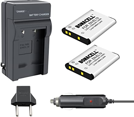 Bonacell 2 Pack 1000mAh Replacement Nikon EN-EL19 Battery and Charger Kit for Nikon Coolpix S32, S33, S100, S2800, S3100, S3200, S3300, S3500, S3600, S4100, S4200, S4300, S5200, S5300, S6500, S7000