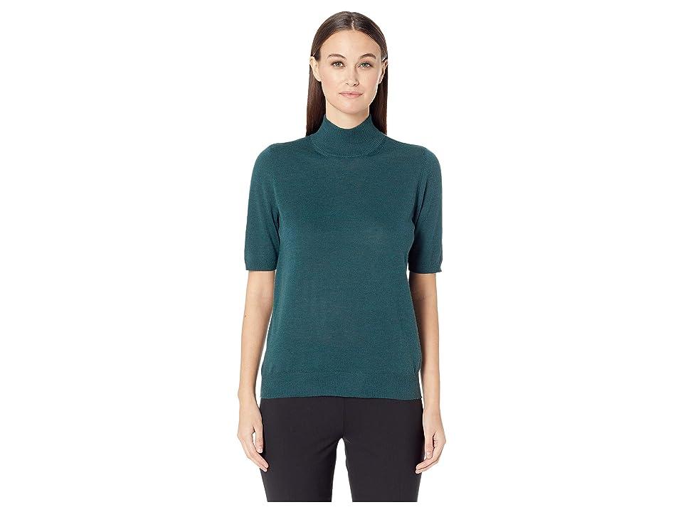 Eileen Fisher Fine Merino Jersey Mock Neck Elbow Sleeve Top (Pine) Women