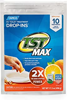 Camco TST Ultra-Concentrated Orange Citrus Scent RV Toilet MAX Treatment Drop-Ins, Formaldehyde Free, Breaks Down Waste And Tissue, Septic Tank Safe, 10-Pack (41178)