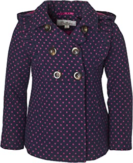 da1d437ea Cremson Girls' Wool Blend Hooded Ruffle Winter Dress Pea Coat Jacket