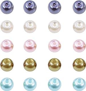 PandaHall 約400個セット ガラスパール 直径4mm 小さな サテン 光沢 ガラス パール Mix ビーズ ラウンドビーズ 丸玉ビーズ DIY用品 手芸用品 ジュエリー用 アクセサリーパーツ 手作り素材 材料 混合色