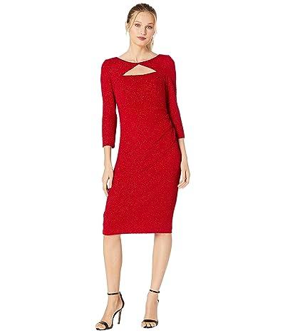 Alex Evenings Midi Length Sheath Dress with Cutout Neckline (Red) Women