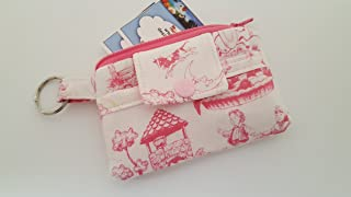 Zipper Mini Wallet Pouch Key Chain Fabric Card Holder Zipper Mini Wallet Key Chain Money Pouch Card holder - Pink & White Nursery Rhyme Toile