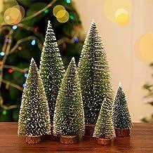 TOFUNTOY Mini Christmas Tree Decoration, 3 Sizes Artificial Small Tiny Pine Tree, Tabletop Christmas Tree Set, Ornament fo...