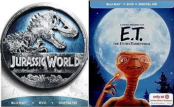 E.T. Stephen Spielberg Exclusive Steelbook & Jurassic World Limited Edition DVD + Blu Ray + Dinosaur Family Fantasy Movie Bundle Box Set
