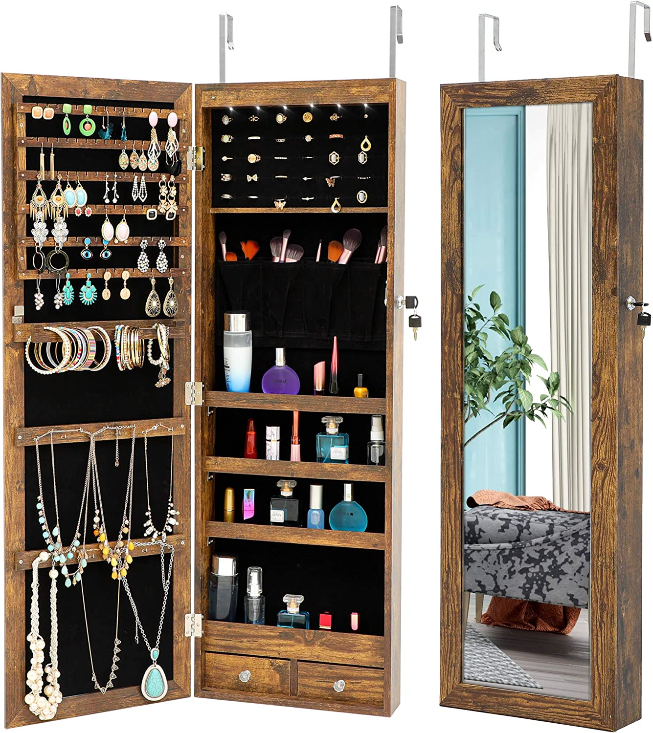 Knowlife Hanging Free shipping anywhere in the nation Jewelry Organizer Armorie Full At the price length with Mirr