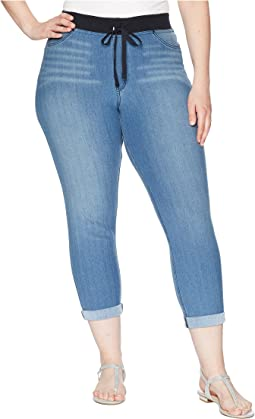 Plus Size Sweatshirt Denim Cuffed Capris