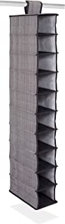 Internet's Best 10 Tier Hanging Shoe Organizer | Narrow Shelf Closet Shoe Rack | Footwear Storage | Grey