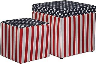Ore International Patriotic Storage Ottoman One Extra Seating, 18