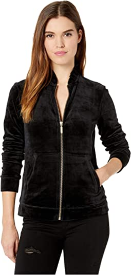 Jayla Velour Ruffle Zip-Up Jacket