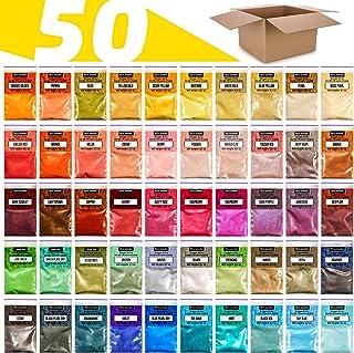 Mica Powder Variety Set - 50 Colors Powdered Pigments Set - Soap Coloring Set - Mica Colors 0.1 oz for Soap Making - Mica ...