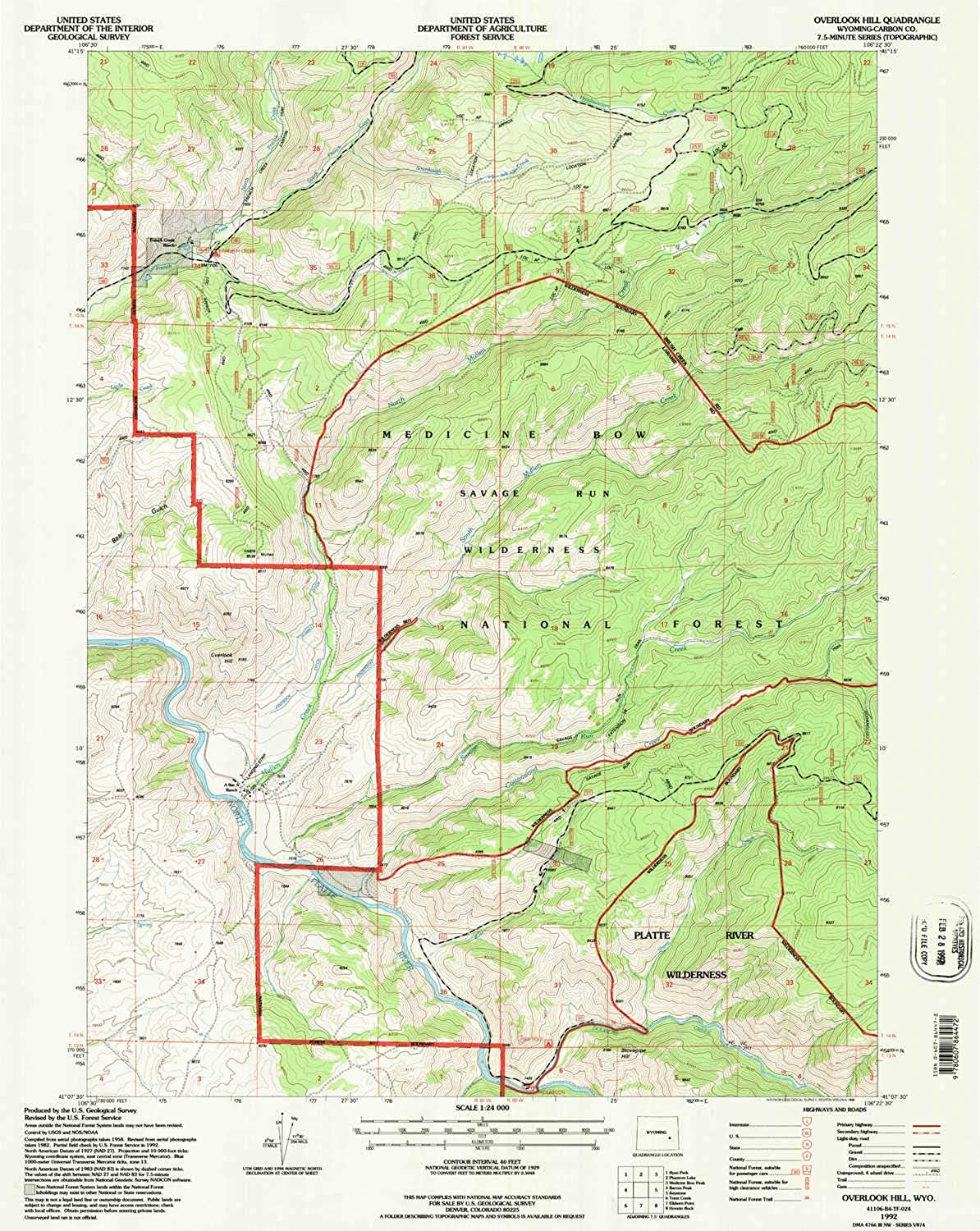 Overlook Hill WY topo map, 1 24000 Scale, 7.5 X 7.5 Minute, Historical, 1992, Updated 1996, 26.8 x 21.3 in