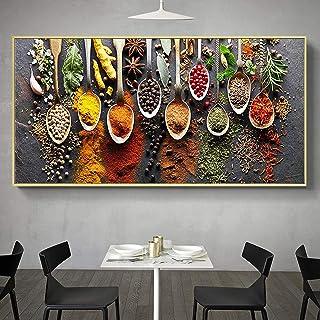 Cuadro en lienzo Especias modernas Cuchara Cocina Alimentos Carteles e impresiones Imágenes artísticas de pared para cocin...