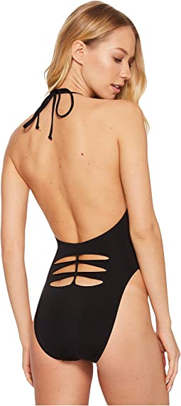 Solid Plunge One-Piece with Back Detail
