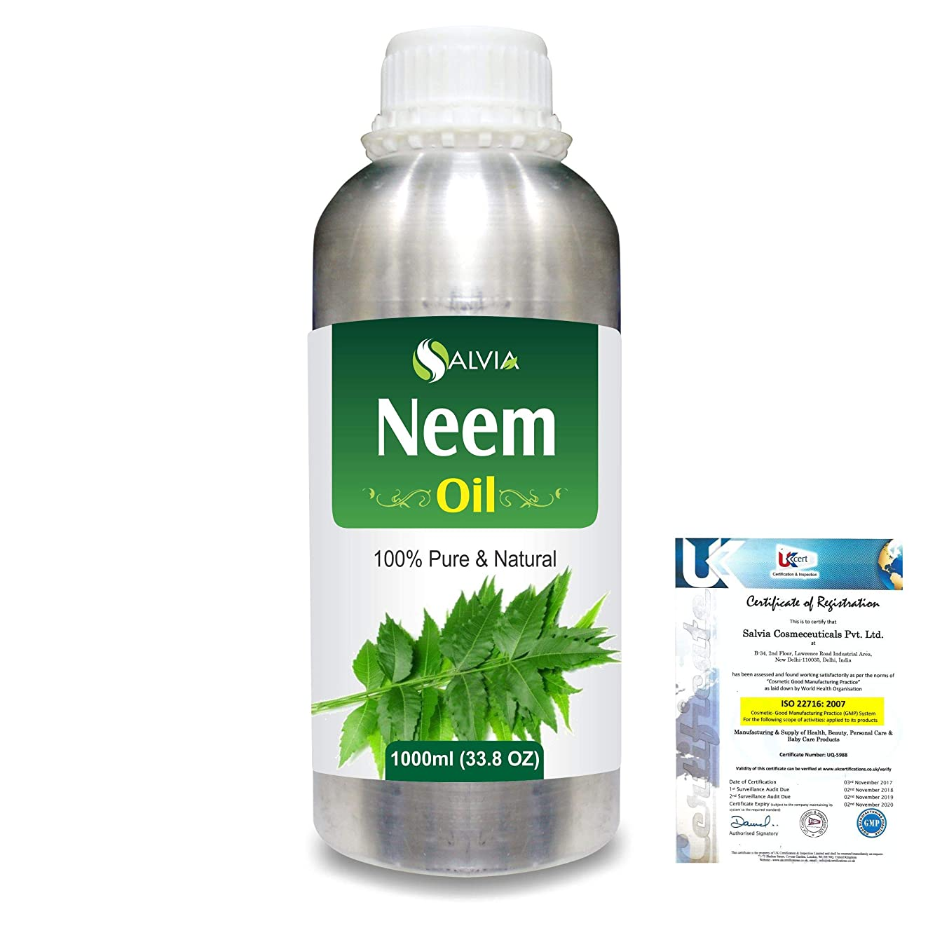 Neem (Azadirachta indica) 100% Natural Pure Essential Oil 1000ml/33.8fl.oz.