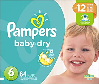 Diapers Size 6, 64 Count - Pampers Baby Dry Disposable Baby Diapers, Super Pack