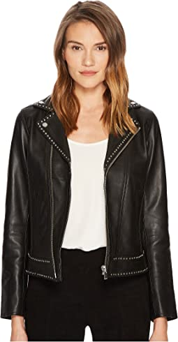 The Kooples - Leather Jacket with Metal Rivets