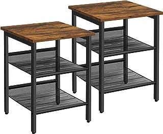 VASAGLE Tables d'appoint, Lot de 2, Tables de Chevet, Style Industriel, avec étagères grillagées réglable, pour Salon, Cha...