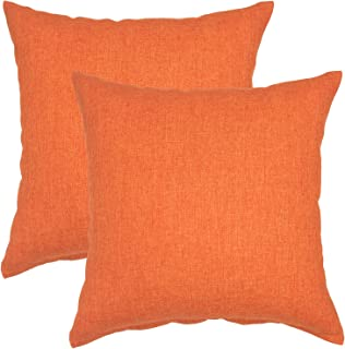 YOUR SMILE Pure Square Decorative Throw Pillows Case Cushion Covers Shell Cotton Linen Blend 18 X 18 Inches, Pack of 2 (Orange)