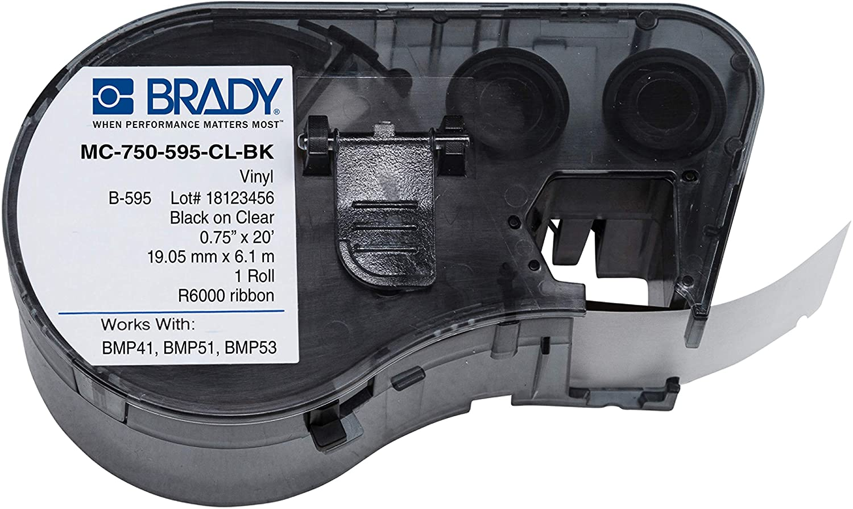 Brady MC-750-595-CL-BK Vinyl B-595 Black on Clear Label Maker Ca