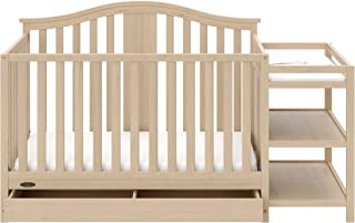 Graco Solano 4-in-1 Convertible Crib and Changer with Drawer Driftwood, Fixed Side Crib, Solid Pine and Wood Product Construction, Converts to Toddler Bed Day Bed or Full Bed (Mattress Not Included)