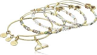 Alex and Ani Women's Whale Tail Set of 5 Bracelet, Shiny Gold
