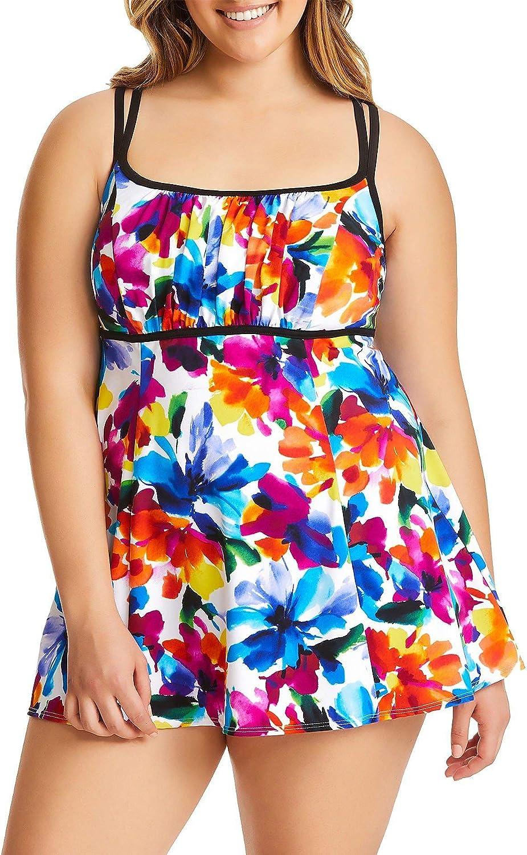 Studio Works Plus Size Abstract Floral Pattern Swim Dress