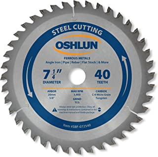 Oshlun SBF-072540 7-1/4-Inch 40 Tooth TCG Saw Blade with 20mm Arbor (5/8-Inch Bushing) for Mild Steel and Ferrous Metals