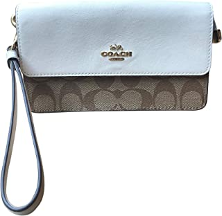 Coach Signature PVC and Leather Foldover Wristlet