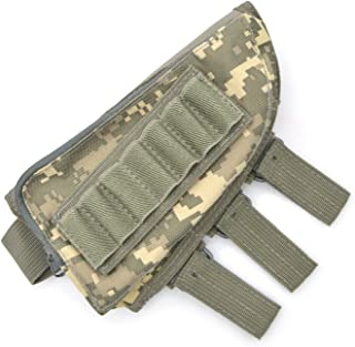 Rifle Stock Pack, Cheek Pad / Buttstock Ammo Holder Pouch, Tactical Buttstock Shotgun Rifle Shell Holder Cheek Rest Pouch (ACU color)