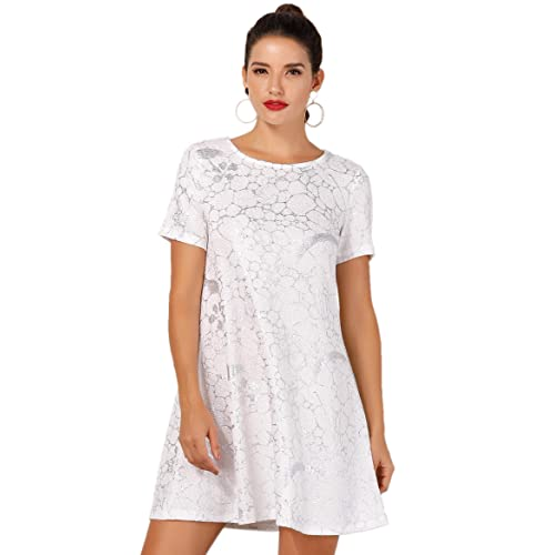 d9dcc7a84c OEUVRE Women s Star Tee Shirt Tunic Stretch Dress Plus Size Metallic Star  Print Jersey