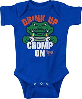 Florida Football Fans. Drink Up Chomp On. Blue Onesie (NB-18M) & Toddler Tee (2T-4T)