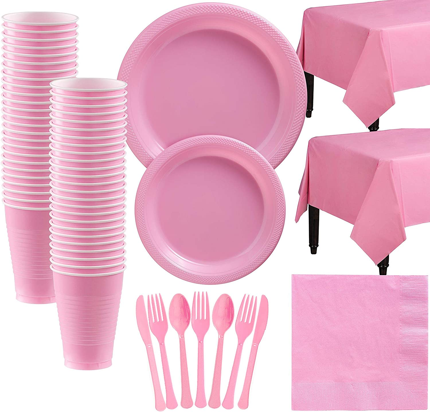 Amscan New Pink Plastic Tableware Kit for 50 Guests, Party Supplies, Includes Table Covers, Plates, Cups and More