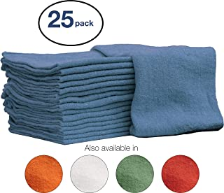 Nabob Wipers Auto-Mechanic Shop Towels, Shop Rags 100% Cotton Commercial Grade Perfect for Your Garage, Auto Body Shop & Bar Mop (12x12) inches, 25 Pack, (Blue)