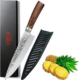 KIREAJI - Couteau Japonais professionnel, Couteau de chef, Couteau inox cuisine - lame tranchante de 20cm - en Acier carbo...
