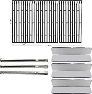 Hisencn Repair Kit Grill Stainless Steel Burners, Heat Plate Tent Shield, Cast Iron Cooking Grid Grates Replacement for Fiesta FG50069, FG50069-U409, Blue Ember FG50069NG, FG50069LP Gas Grill Models