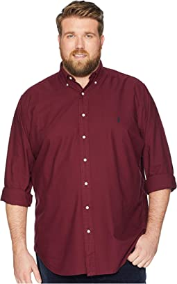 Big & Tall Solid Garment Dyed Oxford Long Sleeve Classic Fit Sports Shirt