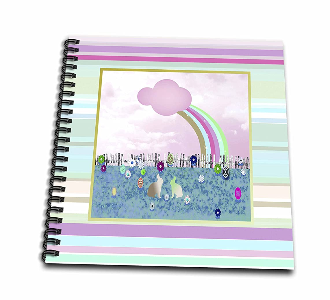 3dRose db_108473_1 Bunnies in The Garden, Pink-Drawing Book, 8 by 8-Inch