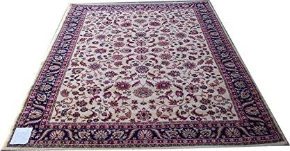 Naz Carpet Kashmiri Traditional Woollen Carpet with Advanced 1 Inch Thickness & Classical Look 90x160cm (3x5 Feet) Color Ivory