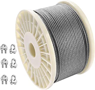 Cozysmart 1/8 Inch Wire Rope,T316 Stainless Steel Aircraft Cable with 6 Wire Rope Clamps,7X7 Strand for Railing Balustrade...