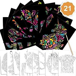 Qpout 21pcs Ensemble de Papier à gratter pour Enfants, 10 Papier à gratter 10 Animaux Dessin pochoirs 1 Stylo en Bois pour...