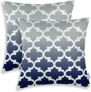 CaliTime Pack of 2 Canvas Throw Pillow Covers Cases for Couch Sofa Home Decor Modern Gradient Quatrefoil Accent Geometric 18 X 18 Inches Gray to Navy Blue