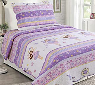 Sapphire Home 2pc Twin Size Bedspread Quilt Set Bedding for Kids Teens Girls, Stars Ballerina Doll Purple Lavender Coverlet, Twin Bedspread + Pillow Sham, Twin CJ23 Ballerina Lavender