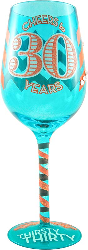 Thirsty Thirty Birthday Wine Glass Novelty Gift Idea For Him Or Her