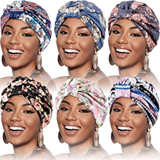 SATINIOR 6 Pieces Women Turban Elastic Cotton Turban Hat Satin Liner Headwrap Double-Layered Beanie Knotted Pre-Tied Cap