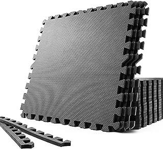 SOLPEX トレーニング ジョイントマット エクササイズマット 防音 衝撃吸収マット ホームジム 大判 ジムマット 60cm×60cm×1.2cm 6/24枚 キズ防止 高硬度 振動吸収 床保護 抗菌 トレーニング器具用マット サイドパーツ付