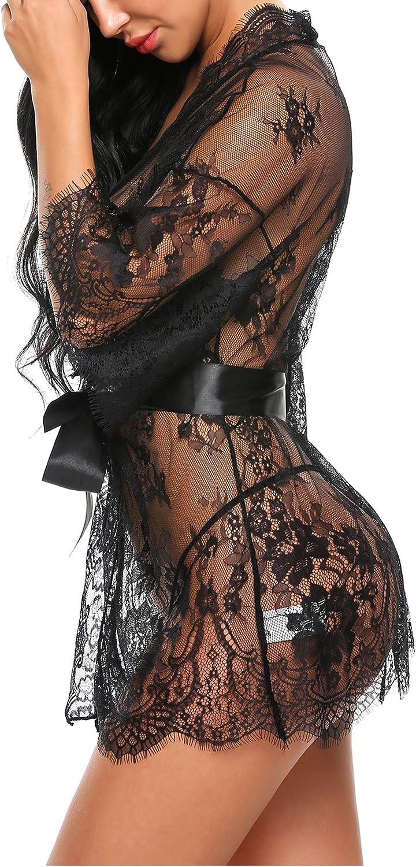 Avidlove Women's Lace Kimono Robe Babydoll Lingerie Mesh Nightgown S-4XL