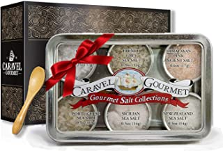The #1 Gourmet Sea Salt Sampler - 6 Delicious Salts in Reusable Tins with a Bamboo Spoon, in a Variety of Flavor Profiles - Perfect Gift for Everyone (Natural, Single Sampler)