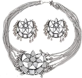 Total Fashion Women's Oxidised German Silver and Choker Necklace Set (Silver)